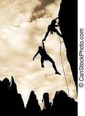 équipe, de, grimpeurs, dans, danger.