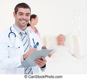 équipe, de, médecins, portion, a, patient