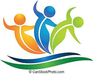 équipe, de, swooshes, pousse feuilles, figures, logo
