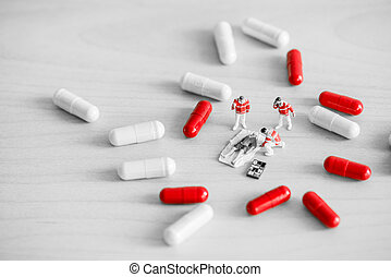 équipe, de, urgence, monde médical, services, fournir, premier, aid., drogue, surdosage, concept