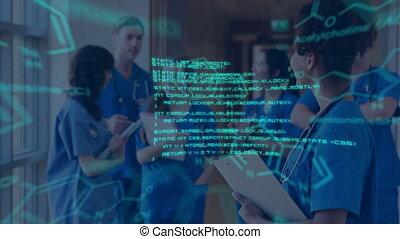 équipe, diagrammes, monde médical, données, réunion, incandescent