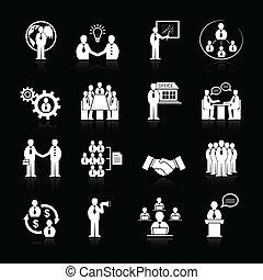 équipe, ensemble, réunion, icones affaires