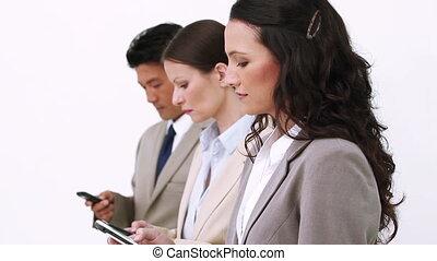 équipe, envoi, business, messages, texte