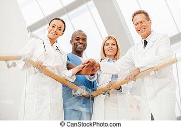 équipe, experts., monde médical