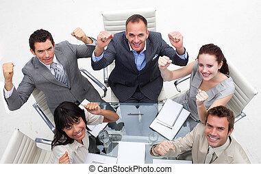 équipe, exubérant, reussite, business, célébrer