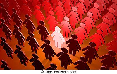 équipe, figures, people), femme, (symbolic