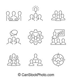 équipe, fond blanc, icônes, travail, ligne
