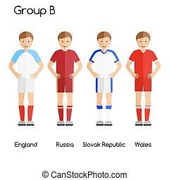 équipe football, players., groupe, b, -, angleterre, russie, république slovaque, et, wales.