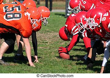 équipe football, prêt, aller pied, balle
