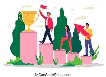 équipe gagnant, récompense, réussi