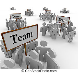 équipe, gens, collaboration, groupes, signes