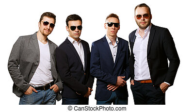 équipe, groupe, dur, business, types, fâché, isolé, ou, gardes, arrière-plan., amical, suits., lunettes soleil, blanc mâle, amis, collègues.