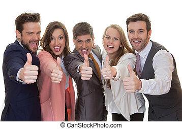 équipe, groupe, haut, business, pouces