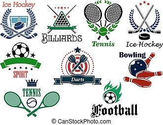 équipe, héraldique, individu, emblèmes, sports