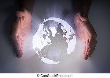 équipe, hands., projection, holographic, la terre