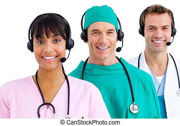 équipe, heureux, utilisation, ecouteurs, monde médical