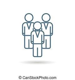 équipe, hommes affaires, linéaire, icône, isolé