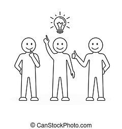 équipe, idea., travail