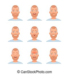 équipe, illustration, vecteur, dessin animé, barbu, ensemble, style., émotions, face.