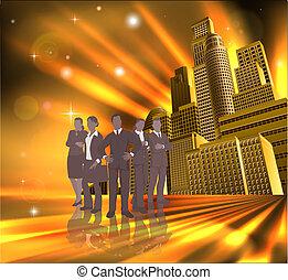 équipe, illustration, ville, professionnel