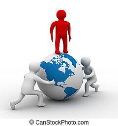 équipe, image., globe, isolé, arrière-plan., blanc, rouleaux, 3d