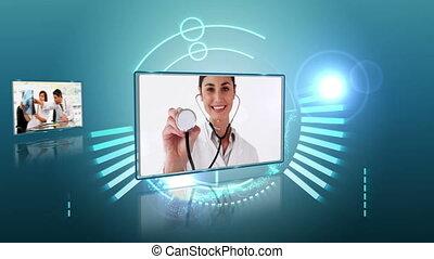 équipe, montage, monde médical