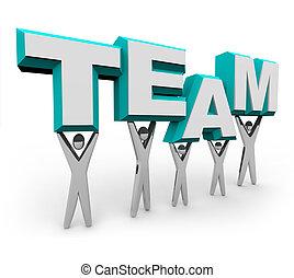équipe, mot, levage, gens