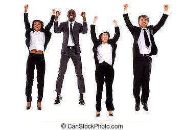équipe, multi-ethnique, rejoiced