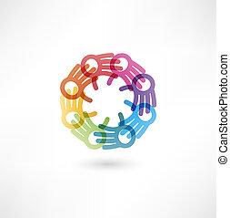 équipe, multicolore, symbole., mains