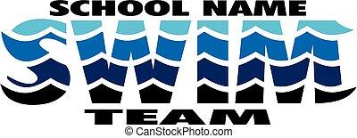 équipe, nager