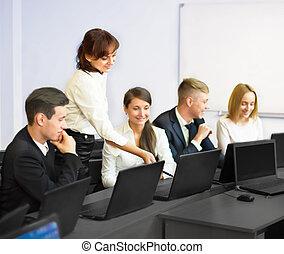 équipe, ordinateur portable, business