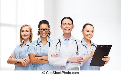 équipe, ou, groupe, de, femme, médecins infirmières