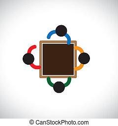 équipe, ou, interactif, icônes bureau, graphic-, ouvriers, ...