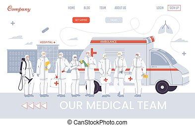 équipe, page, ambulance, présentation, atterrissage, ...
