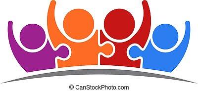 équipe, peoplepuzzle, vecteur, connecté, four., logo