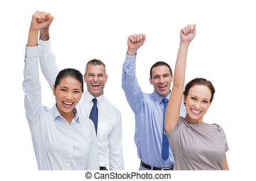 équipe, poser, mains, travail, gai, haut