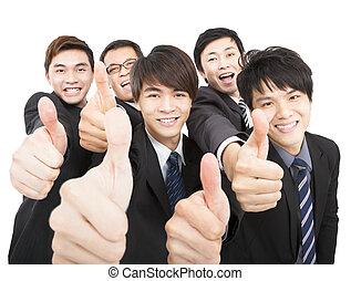 équipe, pouces, business, reussite, haut