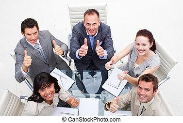 équipe, pouces haut, business, exubérant
