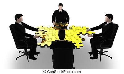 équipe, puzzle, business, bâtiment