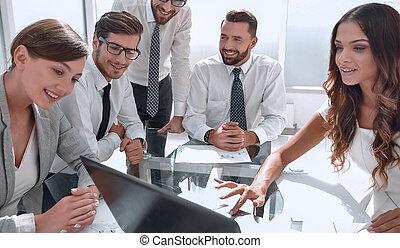 équipe, réunion affaires, travail, ordinateur portable, usages