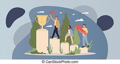 équipe, réussi, récompense, enjôleur