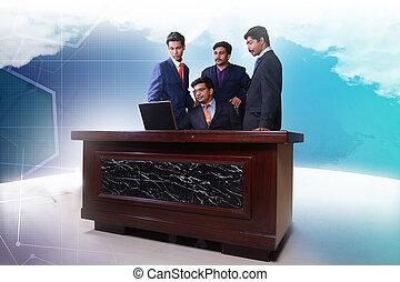équipe, regarder, ordinateur portable, business