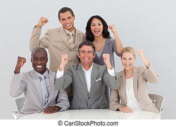 équipe, reussite, business, célébrer, heureux