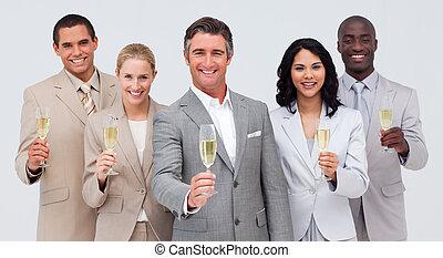 équipe, reussite, business, champagne, célébrer