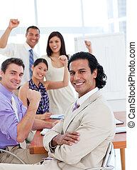 équipe, reussite, business, international, célébrer