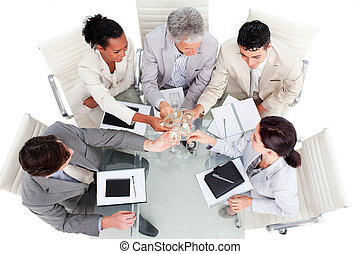 équipe, reussite, business, prospère, célébrer