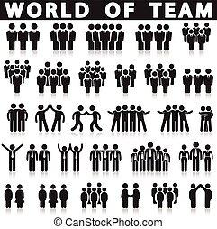 équipe, set., vecteur, icône