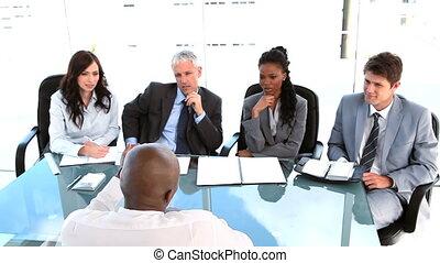 équipe, sien, directeur, conversation, travail