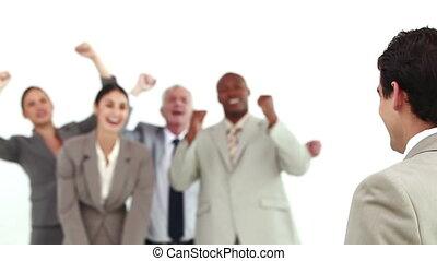 équipe, sien, encouraged, homme affaires, être