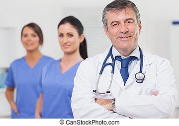 équipe, sien, stéthoscope, sourire, docteur